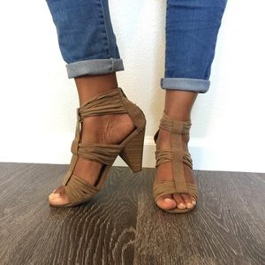 Faux Suede Heeled Sandal